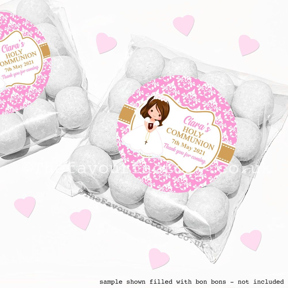 Holy Communion Sweet Bags Kits Brown Hair Girl x12