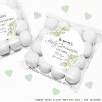 Holy Communion Sweet Bags Kits Botanical Gold Leaf x12
