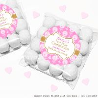 Holy Communion Sweet Bags Kits Pink Beads And Candles x12