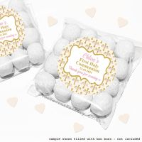 Holy Communion Sweet Bags Kits Pink Floral Crosses x12