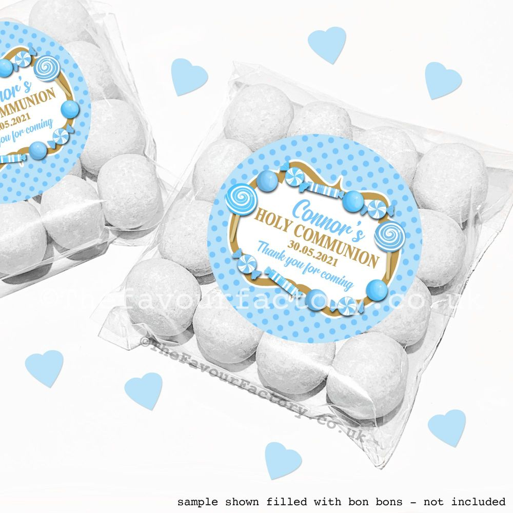 Holy Communion Sweet Bags Kits Blue Candy Sweets x12