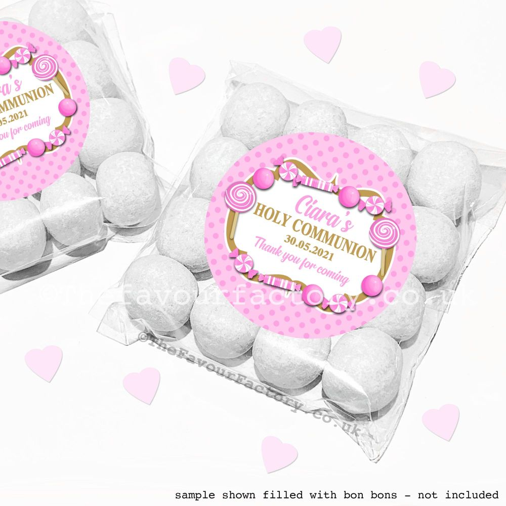 Holy Communion Sweet Bags Kits Pink Candy Sweets x12