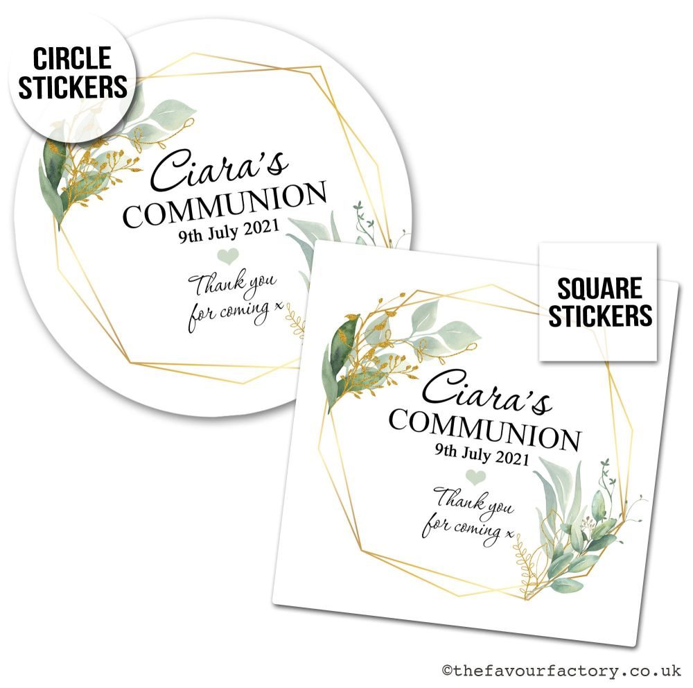 Communion Stickers Personalised Geometric Botanicals x1 A4 Sheet.