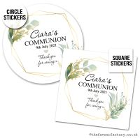 Communion Stickers Personalised Geometric Botanicals x1 A4 Sheet.