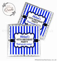 Personalised Birthday Chocolate Favours Blue Stripes x1