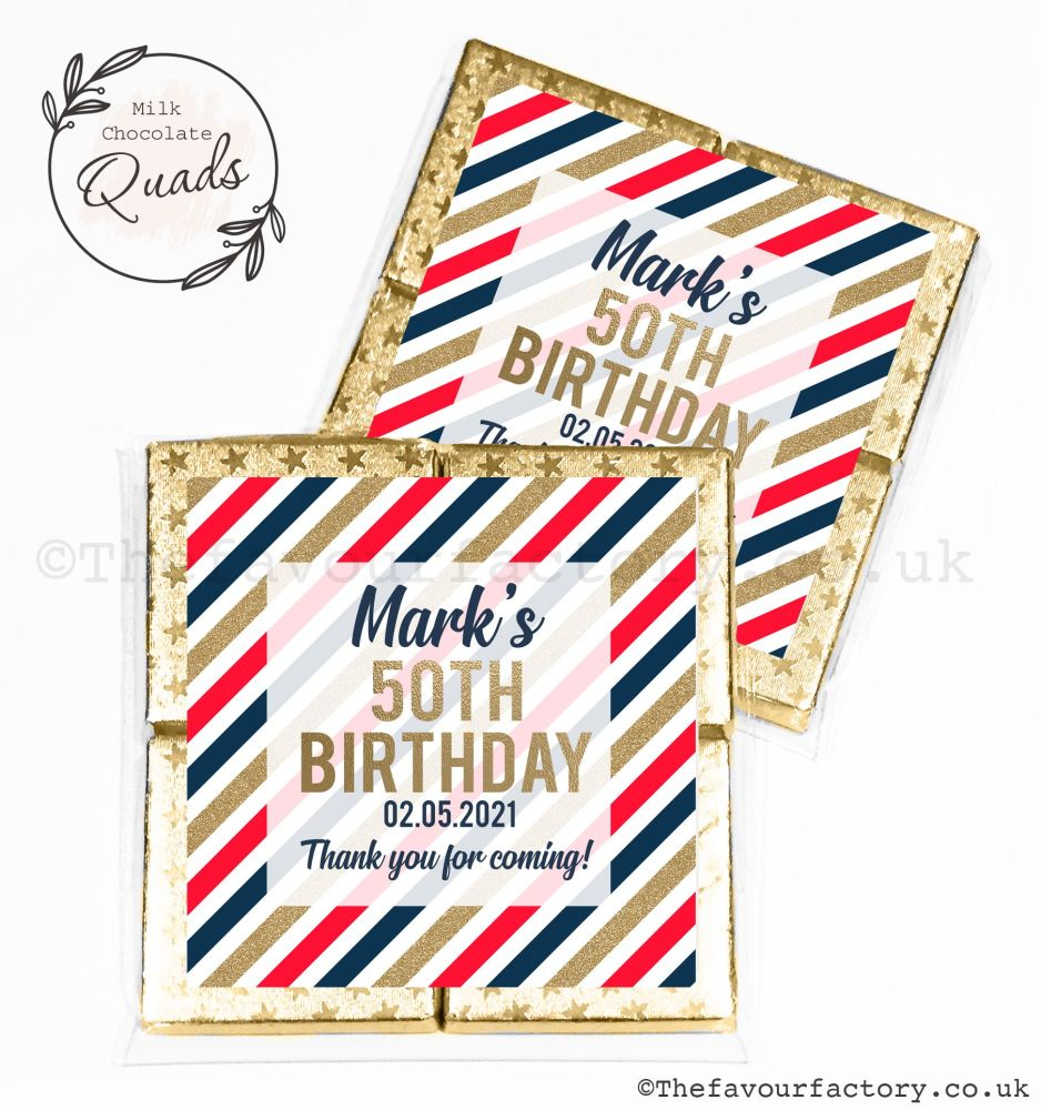 Adult Birthday Chocolate Favours Stripes Red Navy Gold x1