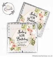 Personalised Birthday Chocolate Favours Bohemian Tropical Florals x1