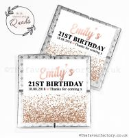 Personalised Birthday Chocolate Favours Rose Gold Glitter Confetti x1