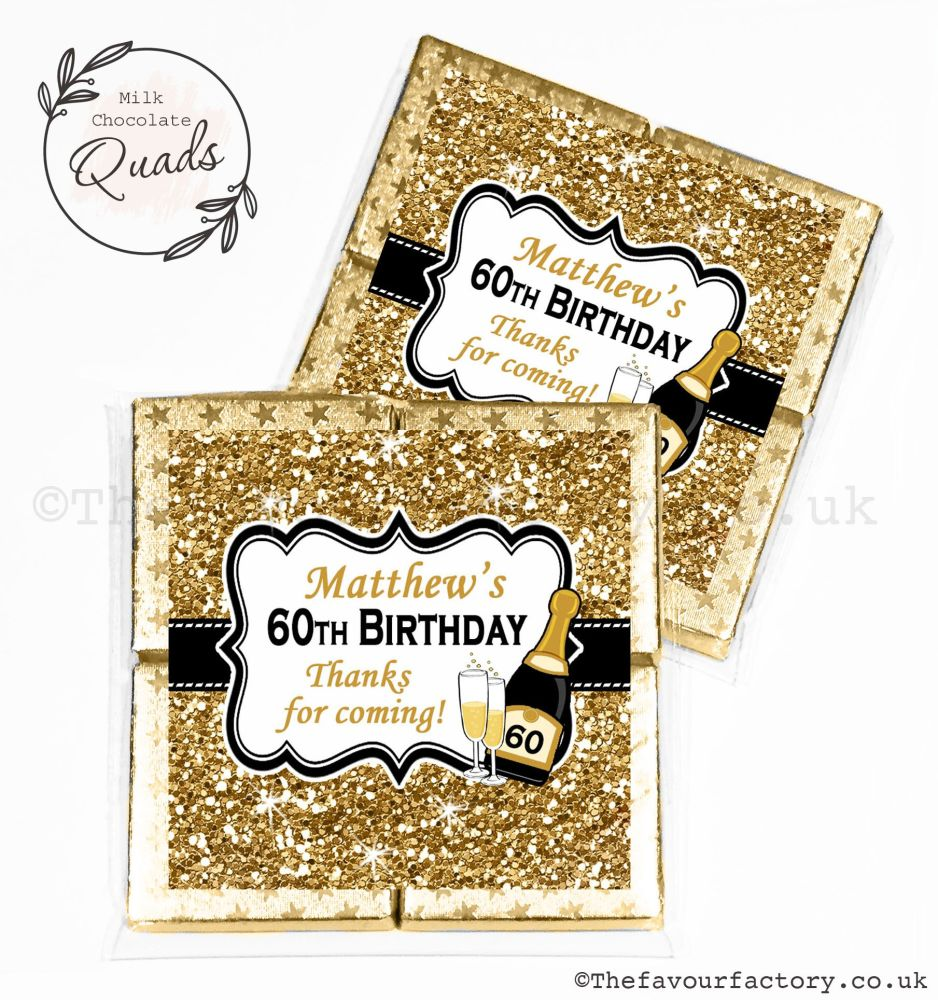Personalised Birthday Chocolate Favours Gold Glitter Champagne x1