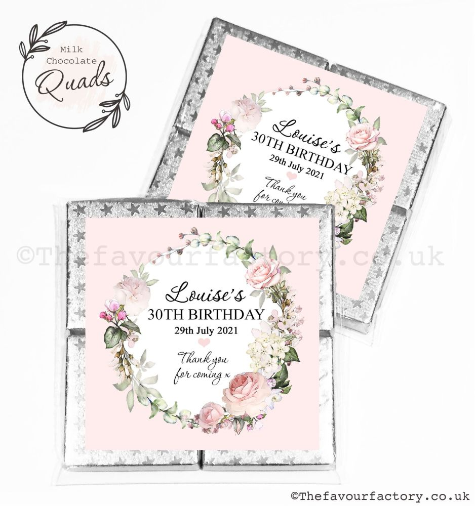 Personalised Birthday Chocolate Favours Vintage Floral Wreath x1