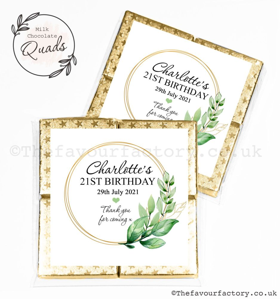 Personalised Birthday Chocolate Favours Botanical Gold Frame x1