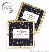 Personalised Birthday Chocolate Favours Gold Foil Stars x1