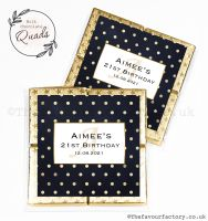 Personalised Birthday Chocolate Favours Gold Foil Polka Dots x1