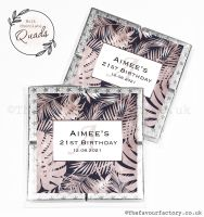 Personalised Birthday Chocolate Favours Rose Gold Palm Leaves x1