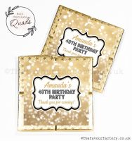 Personalised Birthday Chocolate Favours Gold Bokeh Sparkles x1