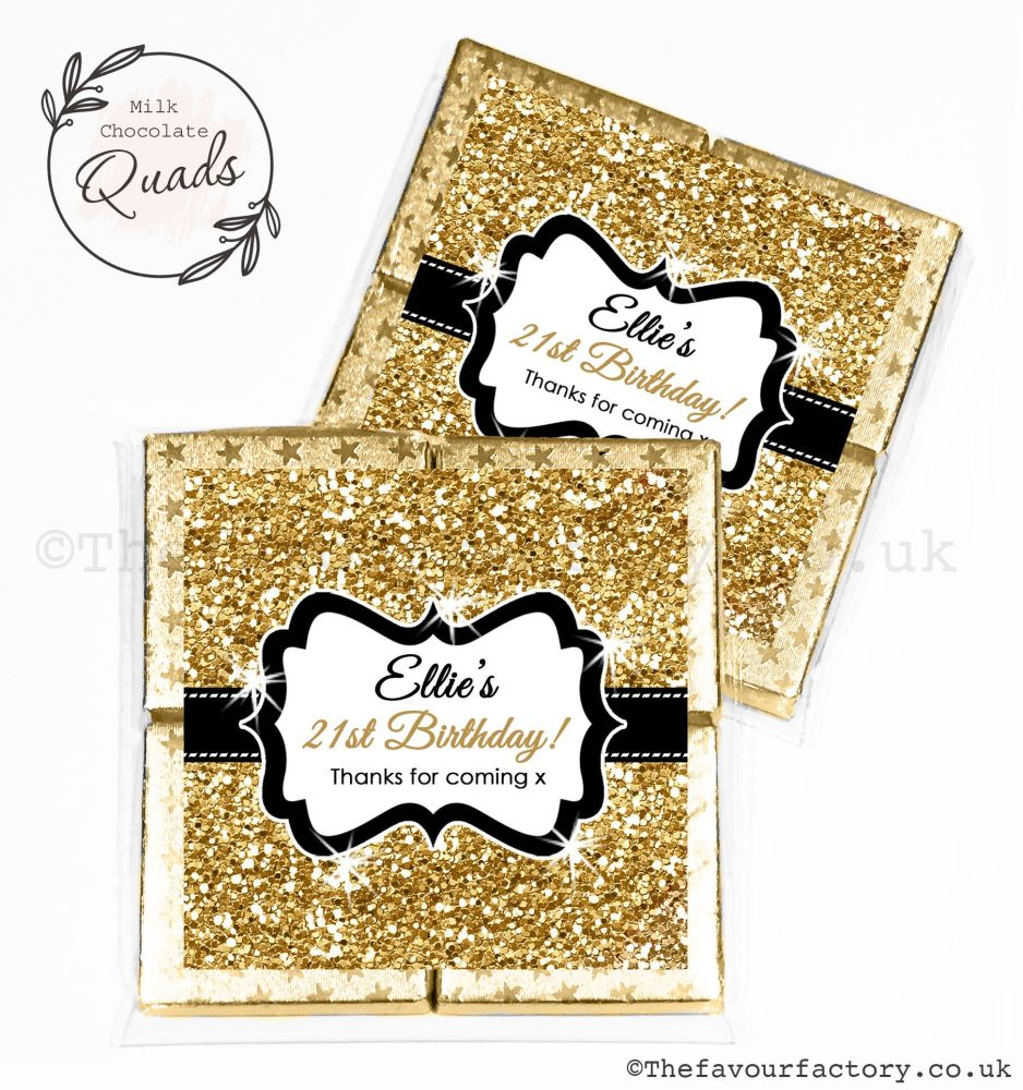 Personalised Birthday Chocolate Favours Gold Glitter x1