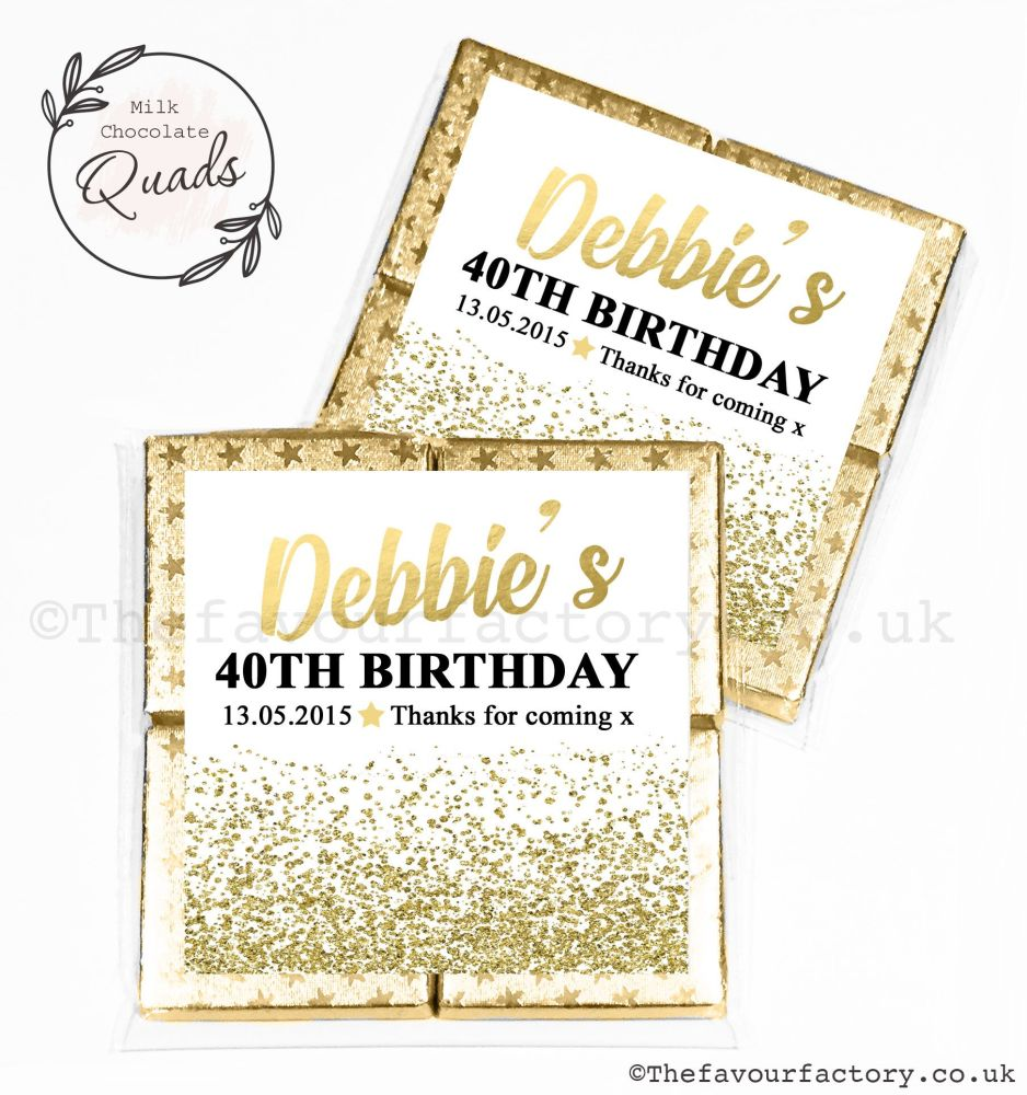 Personalised Birthday Chocolate Favours Gold Glitter Confetti x1