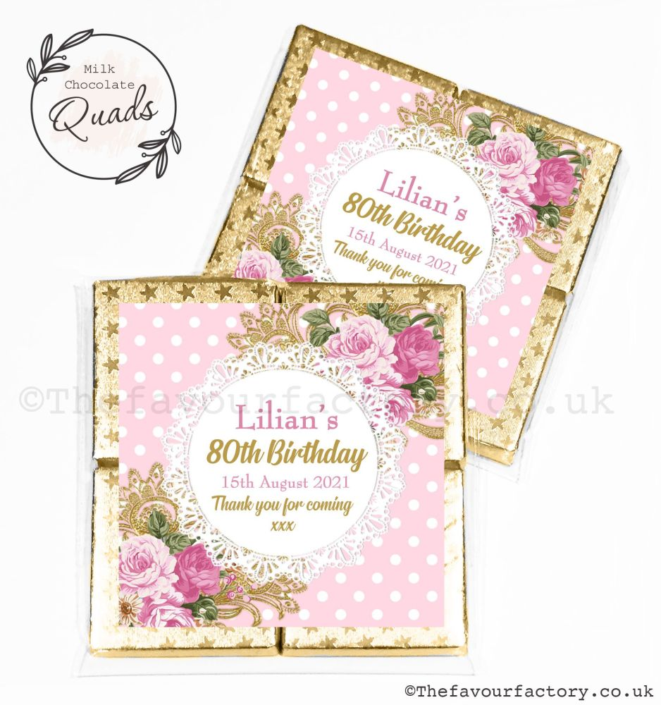 Personalised Birthday Chocolate Favours Vintage Ornate Roses x1