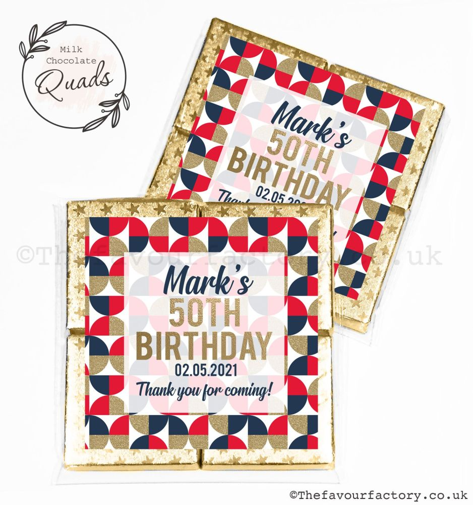 Personalised Birthday Chocolate Favours Geometric Red Navy Gold x1