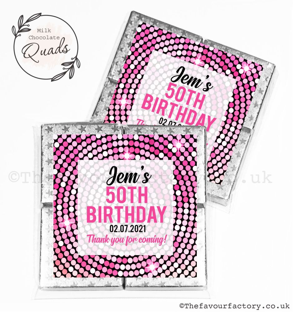 Personalised Birthday Chocolate Favours Pink Disco x1