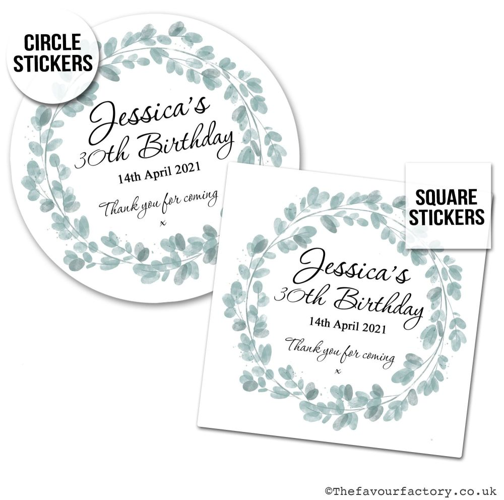 Personalised Birthday Stickers Eucalyptus