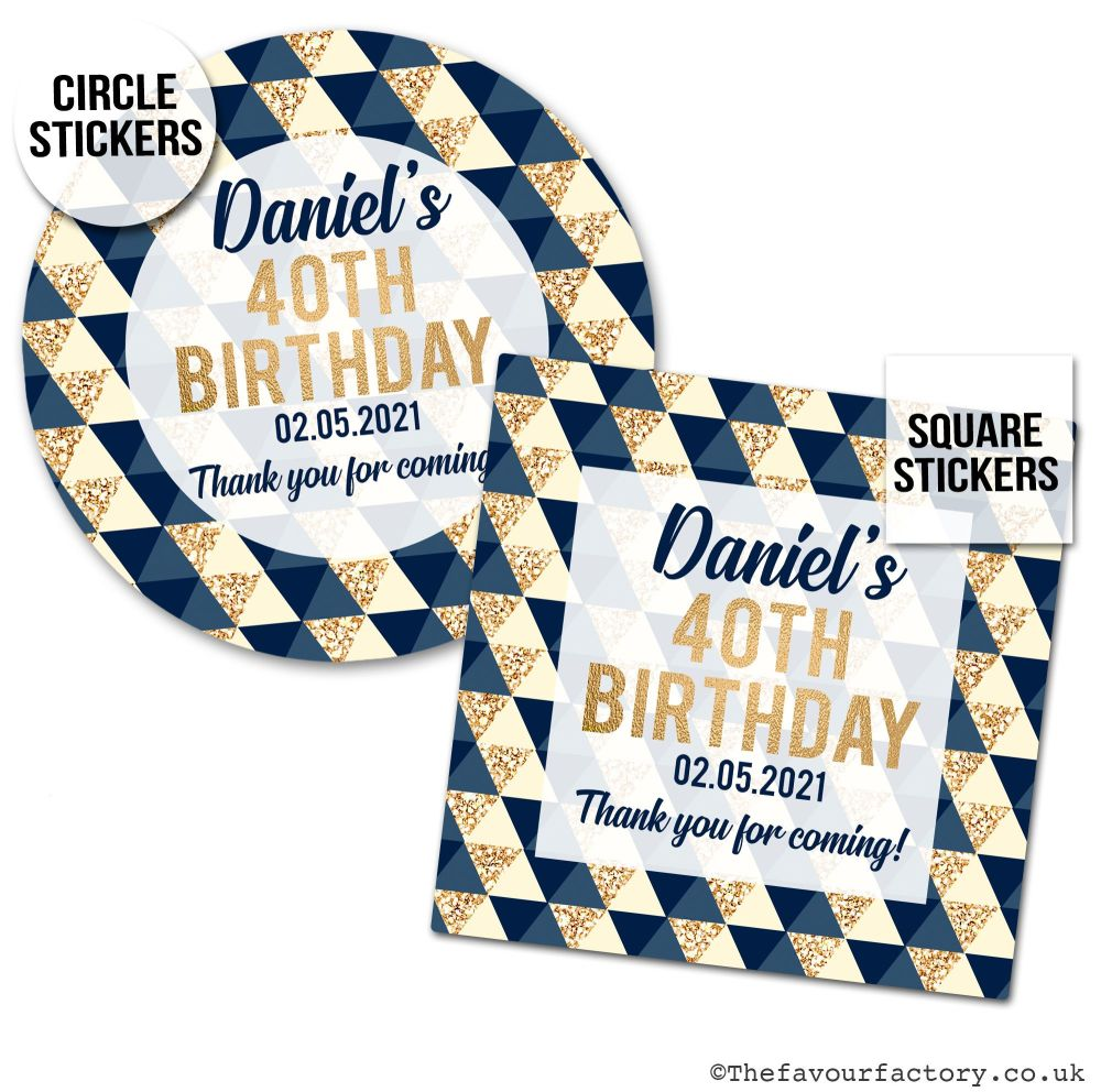Personalised Birthday Stickers Geo Shapes Navy & Gold