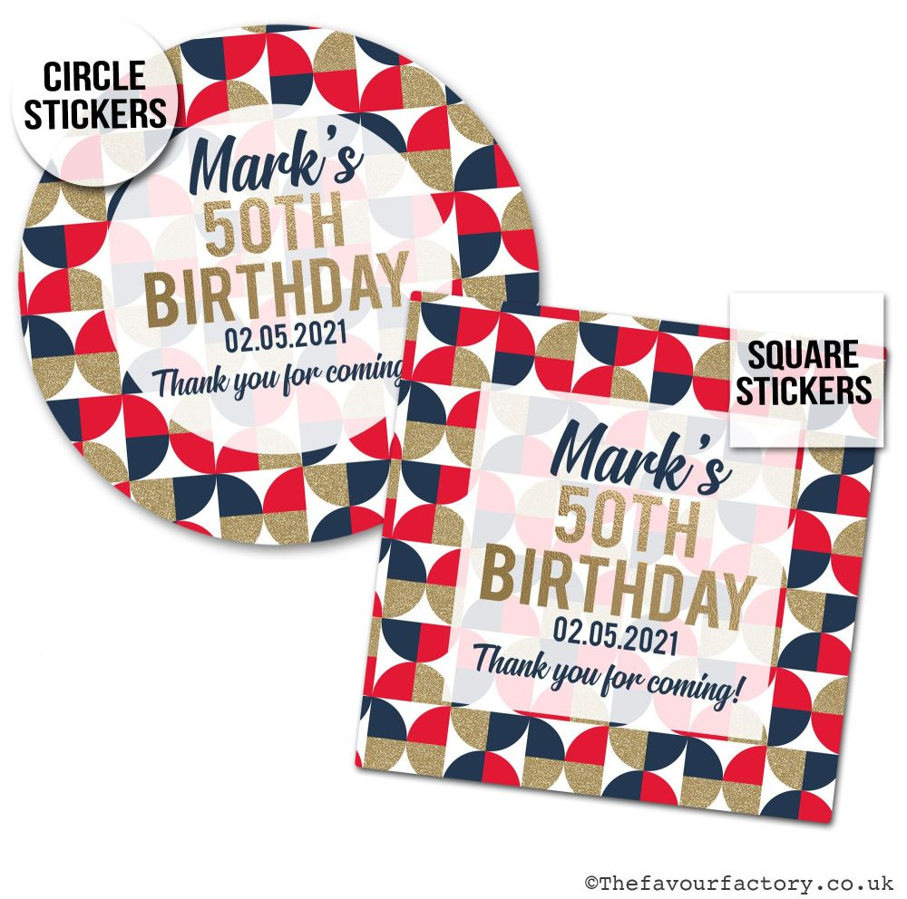 Personalised Birthday Stickers Geo Shapes Red Navy & Gold