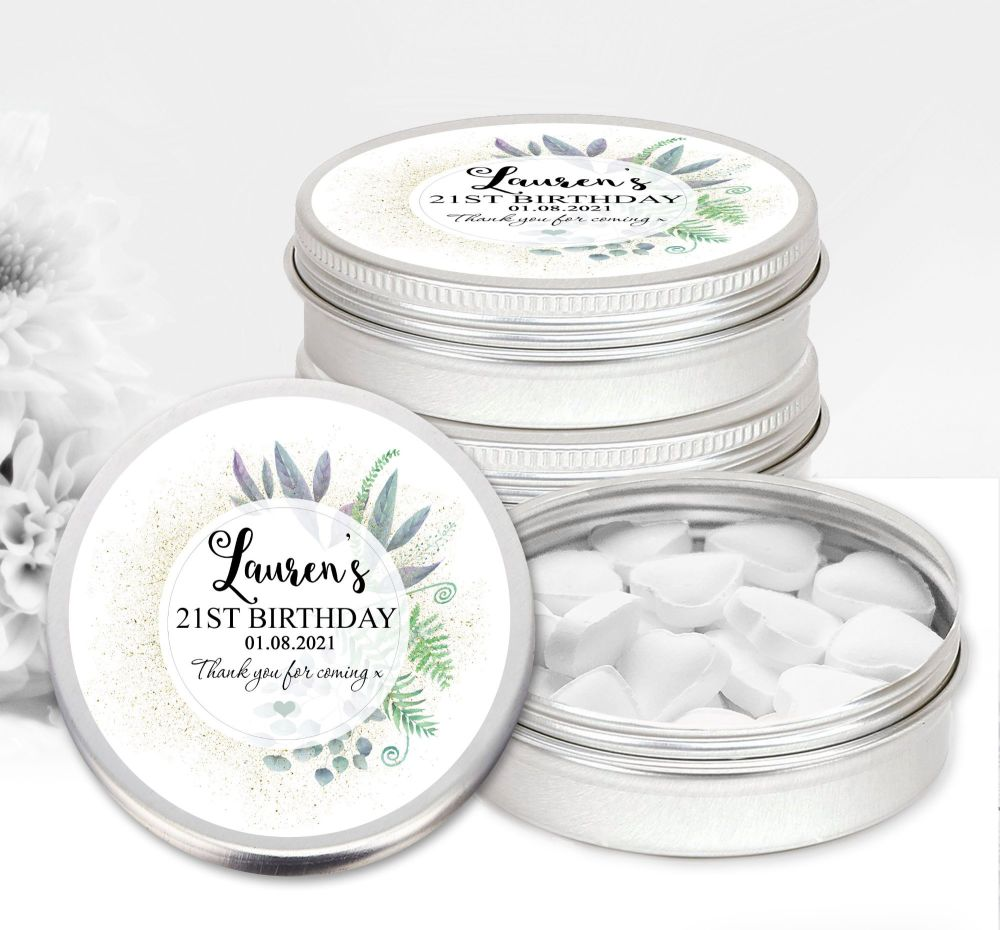 Adult Birthday Favour Tins Botanical Romance x1