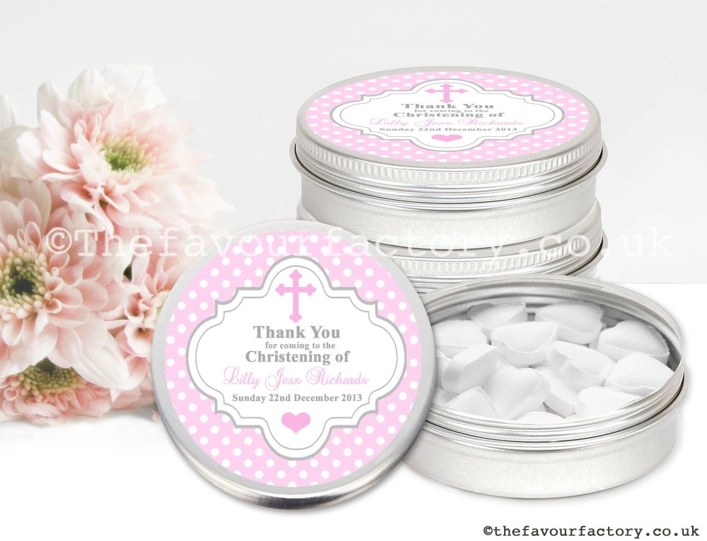 Christening Favour Tins Pink Polka Dots Cross x1