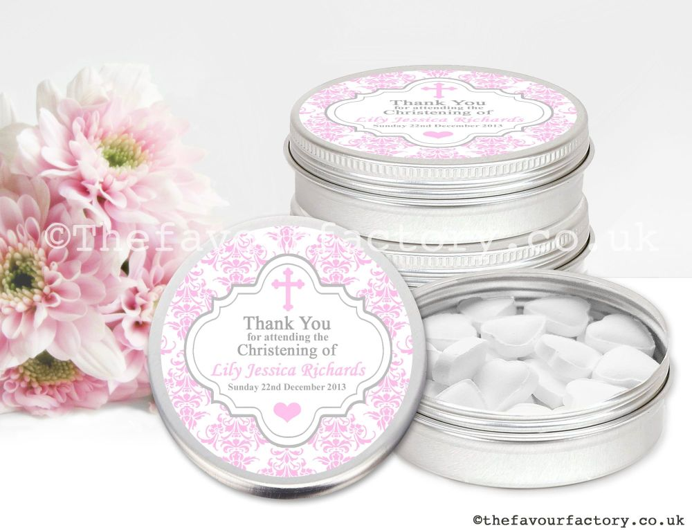 Christening Favour Tins Pink Damask Cross x1