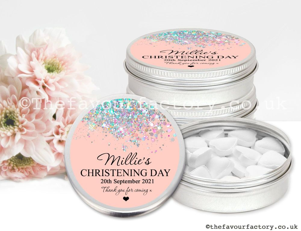 Christening Favour Tins Iridescent Glitter Confetti Rose Gold x1