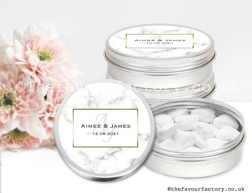 Personalised Wedding Favour Tins Marble Monogram x1