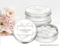 Personalised Wedding Favour Tins Marble Monogram x1