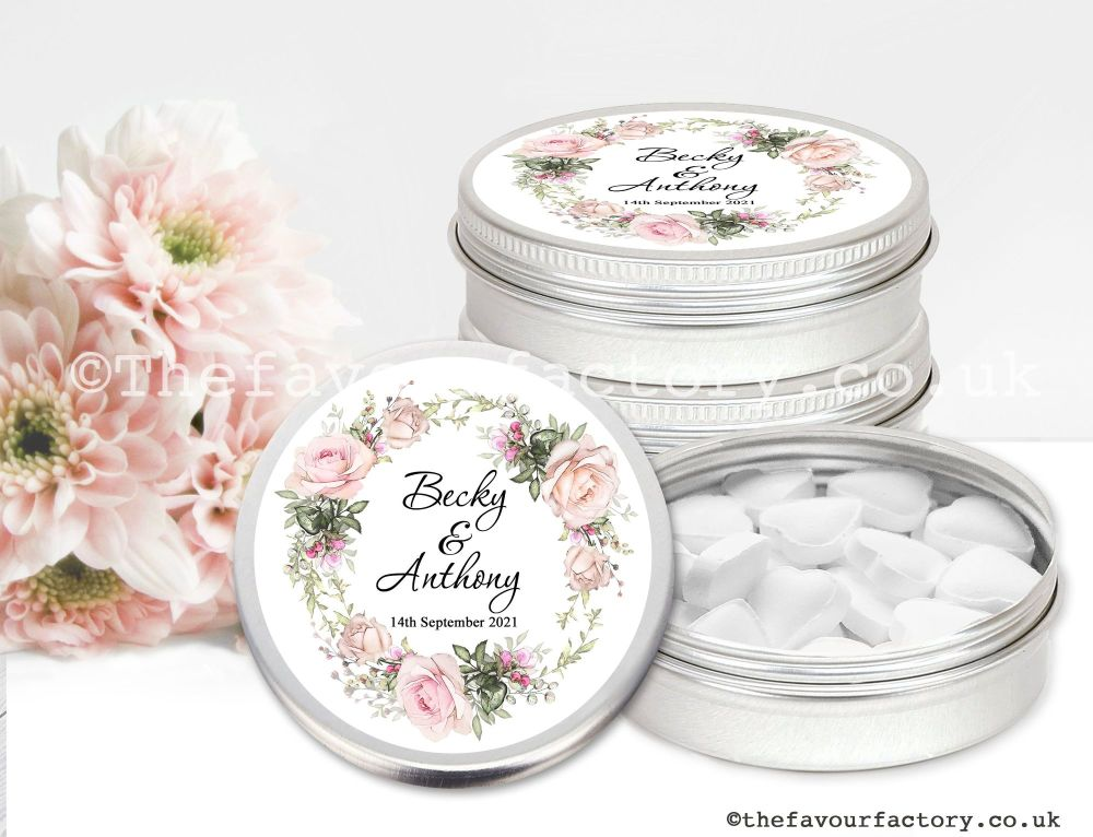 Personalised Wedding Favour Tins Vintage Roses Wreath x1