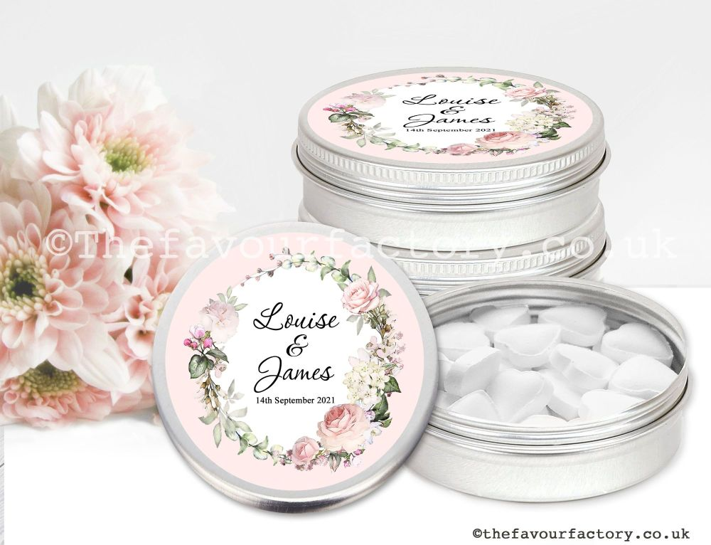 Personalised Wedding Favour Tins Vintage Floral Wreath x1