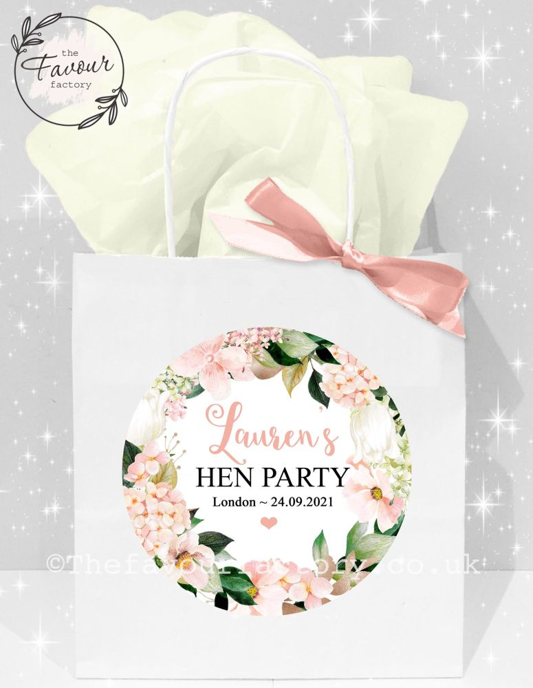 Personalised Hen Party Bags Blush Hydrangeas x1