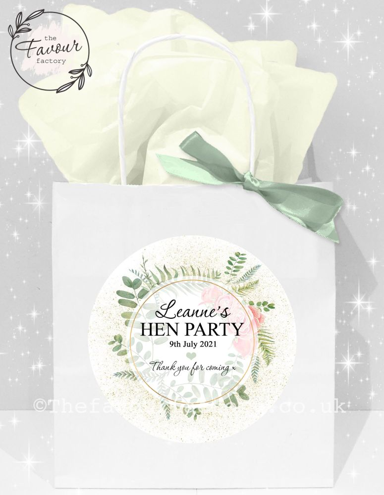 Personalised Hen Party Bags Botanical Gold Dust Roses x1