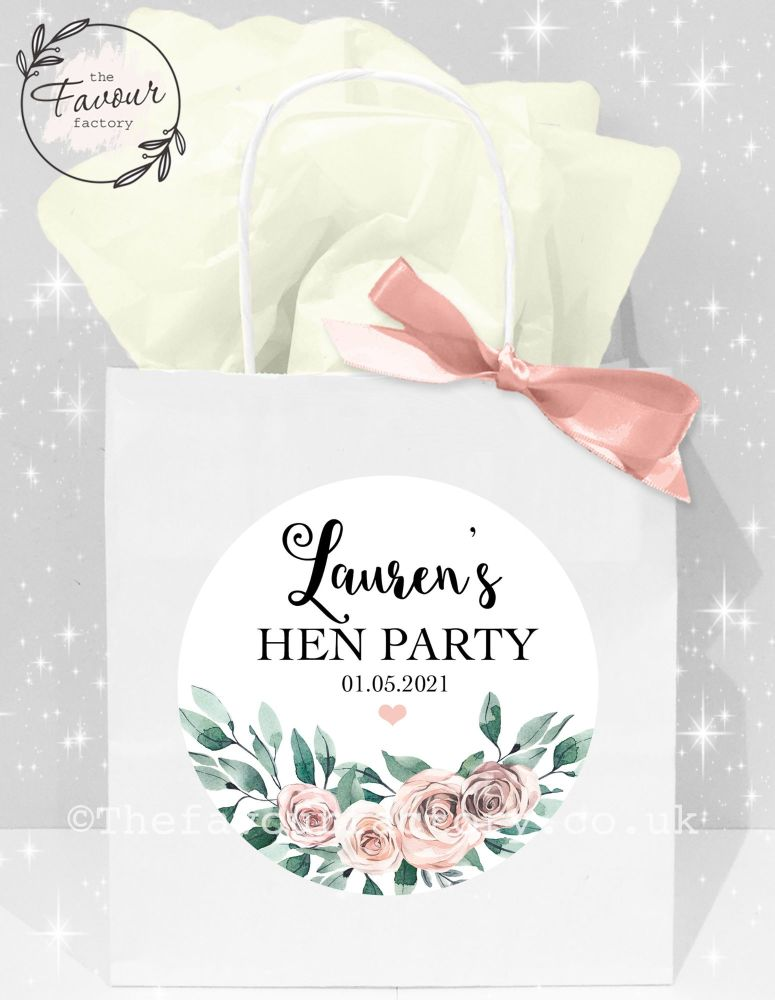 Personalised Hen Party Bags Boho Floral Bouquet x1