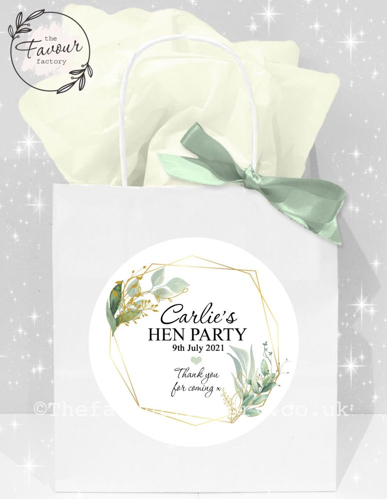 Personalised Hen Party Bags Geometric Botanicals  x1
