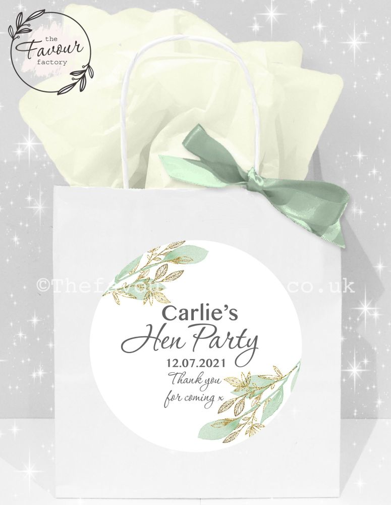Personalised Hen Party Bags Botanical Gold Leaf x1
