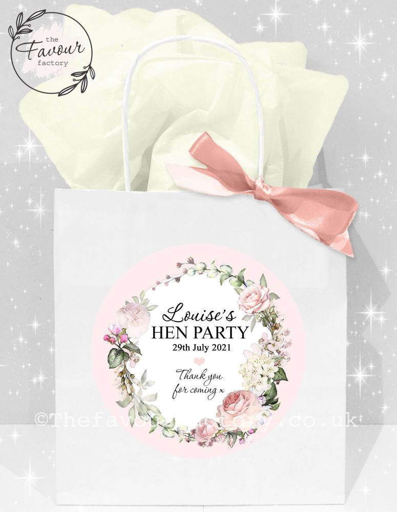 Personalised Hen Party Bags Vintage Floral Wreath x1