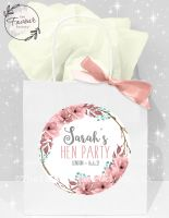 Personalised Hen Party Bags Boho Floral Wreath x1