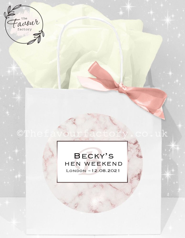Personalised Hen Party Bags Rose Gold Marble x1