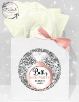 Personalised Hen Party Bags Silver Glitter Ring x1