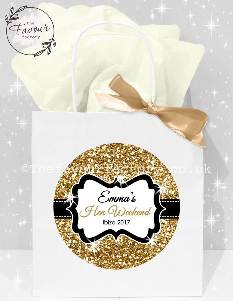 Personalised Hen Party Bags Gold Glitter x1