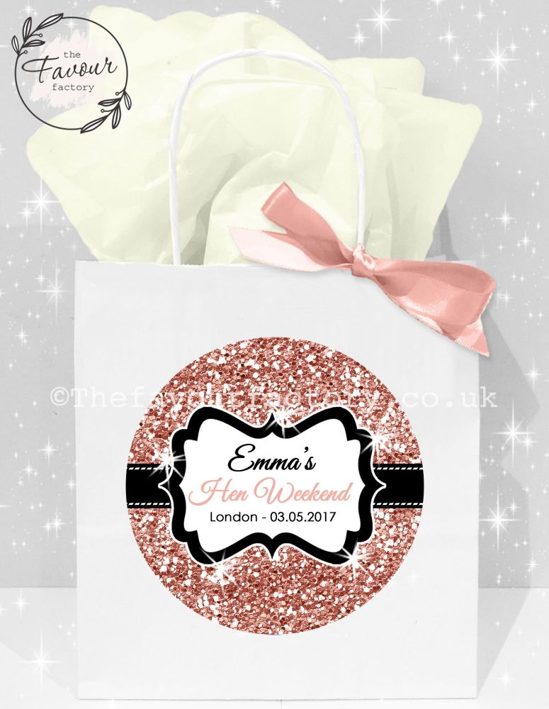 Personalised Hen Party Bags Rose Gold Glitter x1