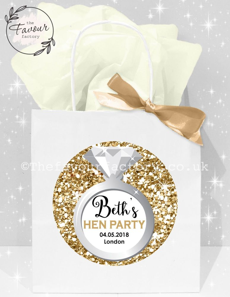 Personalised Hen Party Bags Gold Glitter Ring x1
