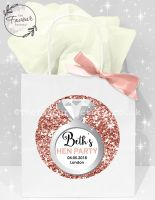 Personalised Hen Party Bags Rose Gold Glitter Ring x1