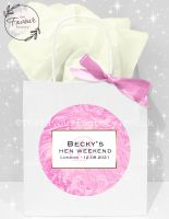 Personalised Hen Party Bags Pink Liquid Marble x1