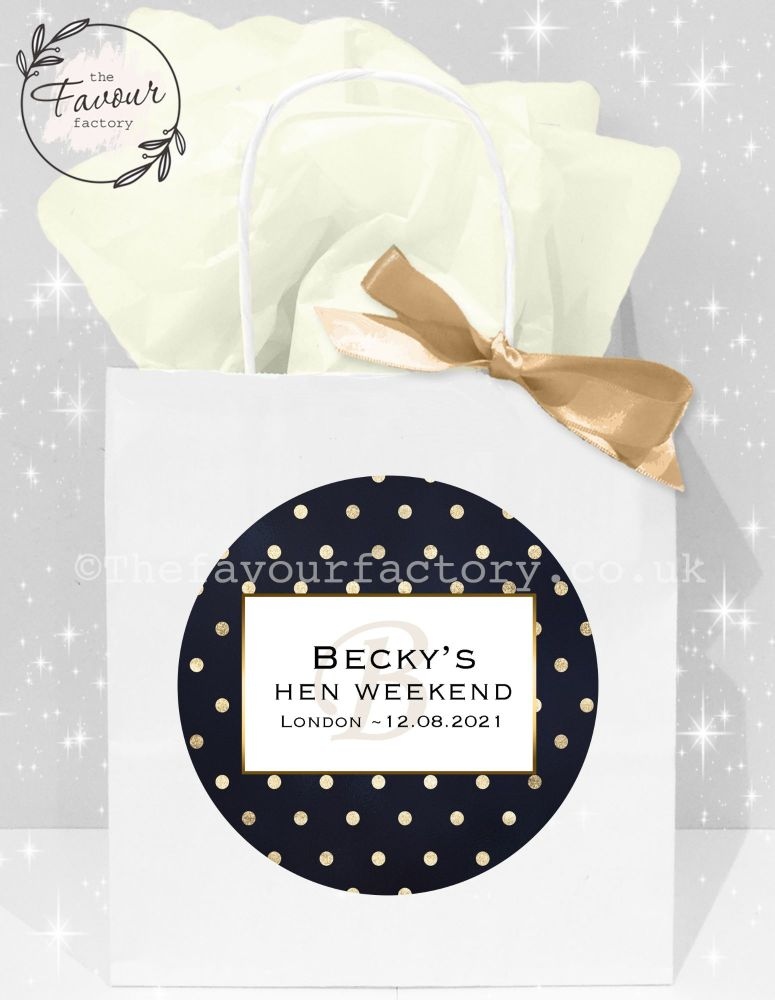 Personalised Hen Party Bags Gold Polka Dots x1